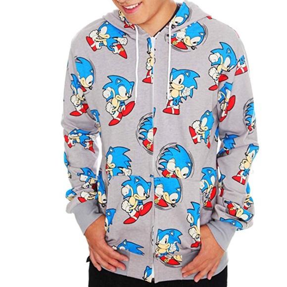 Hot Topic Shirts Sonic The Hedgehog All Over Print Zip Hoodie Xl Poshmark